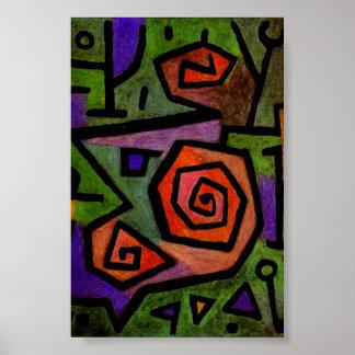 Rosas heróicos pelo poster da arte abstracta de