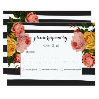 Rosas pretos elegantes da herança da listra que convite 8.89 x 12.7cm