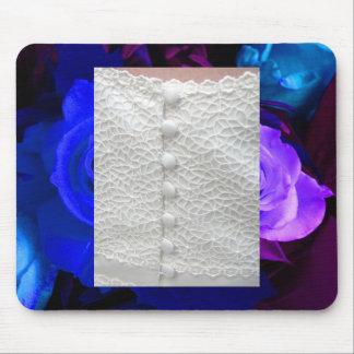 Rosas roxos azuis brancos Mousepad do vestido de c