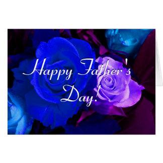 Rosas roxos azuis do dia dos pais feliz cartoes
