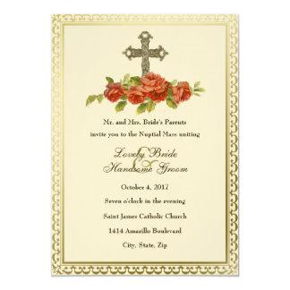 Rosas transversais católicos do vintage que convite 12.7 x 17.78cm