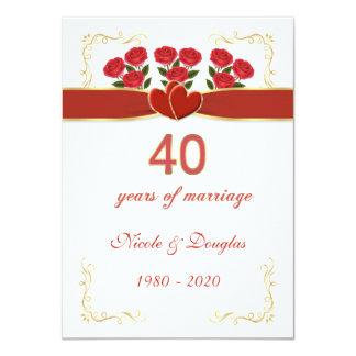 Rosas vermelhas, aniversário de casamento dos convite 11.30 x 15.87cm