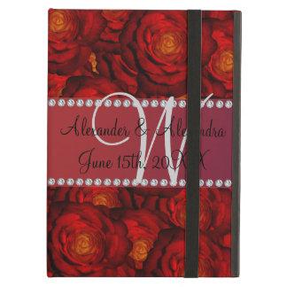 Rosas vermelhas do monograma do casamento