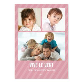 Rose Triple carte de photo de vacances Convite 12.7 X 17.78cm