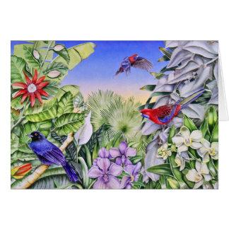 rosellas carmesins cartão comemorativo