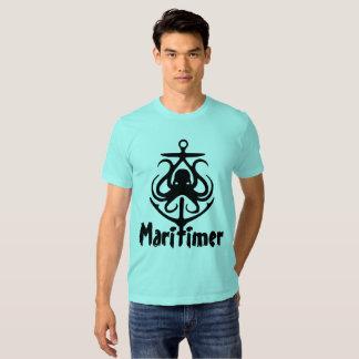Rota náutica do farol do polvo da âncora de camiseta