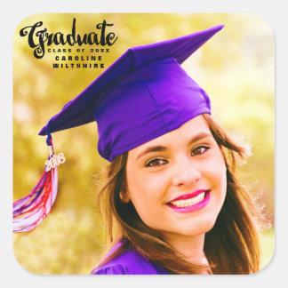 Roteiro bonito graduação personalizada da foto adesivo quadrado