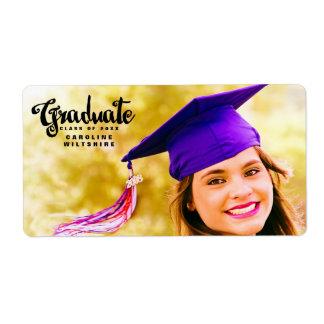 Roteiro chique graduação personalizada da foto etiqueta de frete