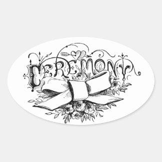 roteiro da cerimónia da tipografia do vintage adesivos ovais
