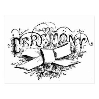 roteiro da cerimónia da tipografia do vintage cartão postal