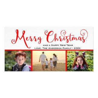 Roteiro da foto do Feliz Natal três - cartão com Cartão Com Foto