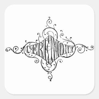 roteiro do casamento da CERIMÓNIA da tipografia do Adesivo Quadrado