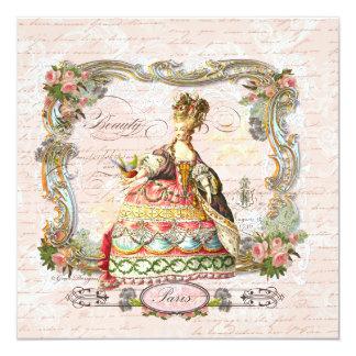 Roteiro francês de Marie Antoinette e rosas Convite Quadrado 13.35 X 13.35cm