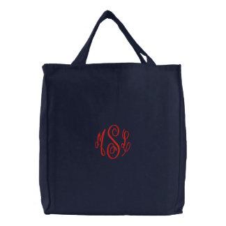 Roteiro vermelho monograma bordado bolsas de lona