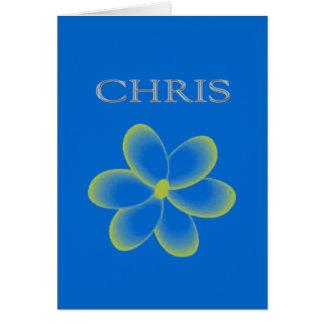 Rotulação levantada costume de Chris Cartão Comemorativo
