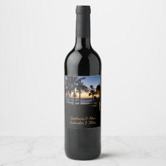 Rótulo De Garrafa De Cerveja Casamento tropical do destino
