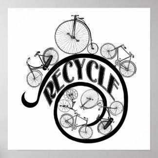 Roupa e presentes do reciclar das bicicletas do vi pôster