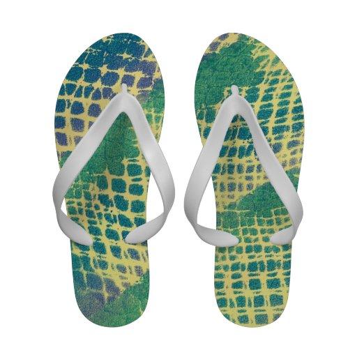Roxo abstrato do verde azul em chinelos amarelos