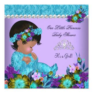 Roxo azul da cerceta da menina da princesa chá de convite quadrado 13.35 x 13.35cm