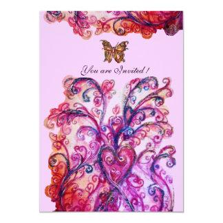 Roxo cor-de-rosa vermelho brilhante dos FLOURISHES Convite 12.7 X 17.78cm