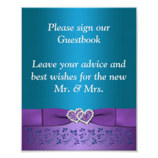 Roxo, corações florais da cerceta que Wedding o Pôster