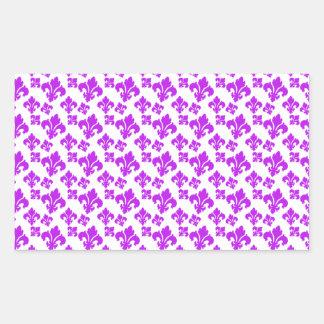 Roxo da flor de lis 4 adesivo retangular