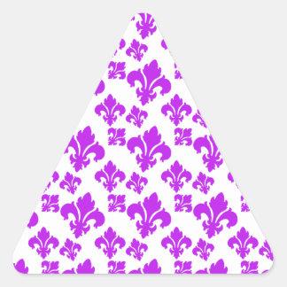 Roxo da flor de lis 4 adesivo triângulo