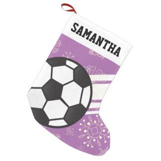 Roxo desportivo personalizado da bola de futebol bota de natal pequena