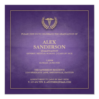 Roxo do anúncio   da graduação da Faculdade de Convite Quadrado 13.35 X 13.35cm