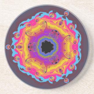 Roxo do rosa do amarelo da mandala do Fractal do p Porta-copos