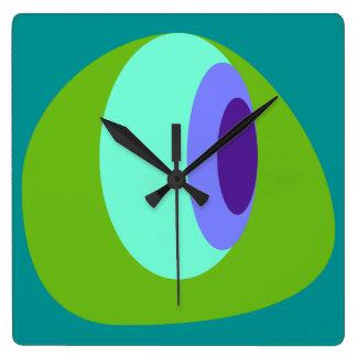 Roxo do verde azul do abstrato 2 relógios de pendurar