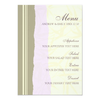 Roxo e bege do menu do casamento convite 12.7 x 17.78cm