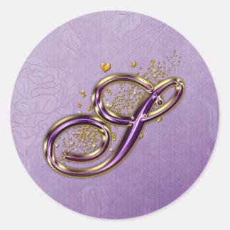 Roxo e etiqueta do monograma S do brilho do ouro Adesivo Redondo