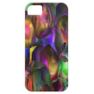 Roxo e floral abstratos pela estrela de Trevor Capa Barely There Para iPhone 5