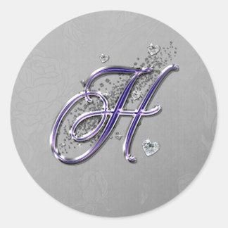 Roxo e monograma H do roteiro do rico do brilho da Adesivo
