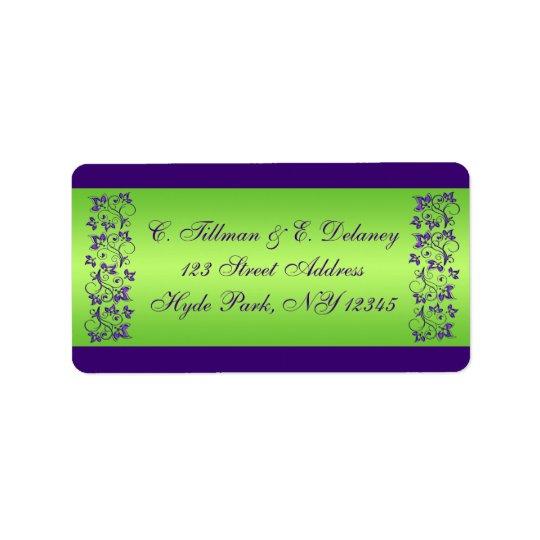 Roxo, etiqueta de endereço floral 2 do casamento