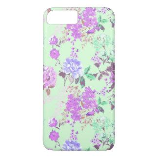 Roxo floral do verde da hortelã do teste padrão de capa iPhone 7 plus