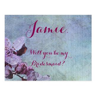 Roxo floral e azul roxos cartão postal