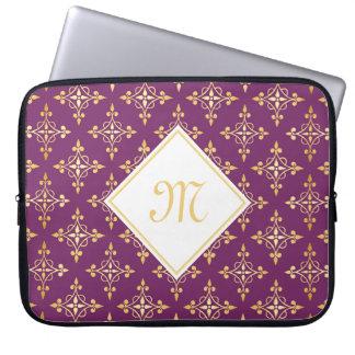 Roxo luxuoso do monograma e ouro Quatre floral Capa Para Laptop