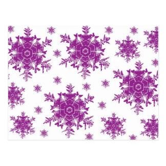 Roxo no design branco do floco de neve cartão postal