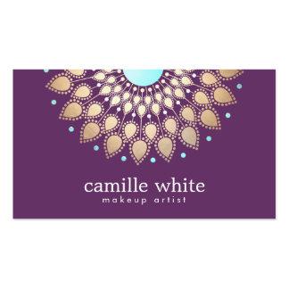 Roxo ornamentado do motivo do ouro elegante do cartão de visita