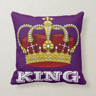 Roxo real do rei Coroa dos direitos & letra Almofada