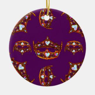 Roxo real do teste padrão da tiara da coroa do ornamento de cerâmica redondo