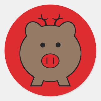 Roy o porco do Natal Adesivo