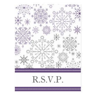 rsvp cinzento roxo do casamento no inverno da modi cartoes postais