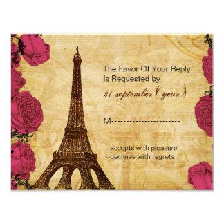 Rsvp cor-de-rosa do casamento de Paris da torre Convite 10.79 X 13.97cm