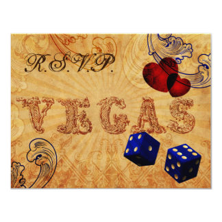 rsvp do casamento de Vegas do vintage dos dados Convite 10.79 X 13.97cm
