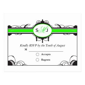 rsvp do weddng do verde limão cartão postal