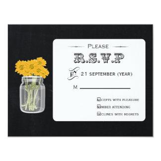 Rsvp floral do frasco de pedreiro do quadro do convite 10.79 x 13.97cm