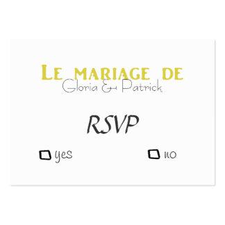 Rsvp francês do casamento de Oldfahioned Cartão De Visita Grande